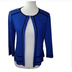 MING WANG Royal Blue Knit Open Front Cardigan